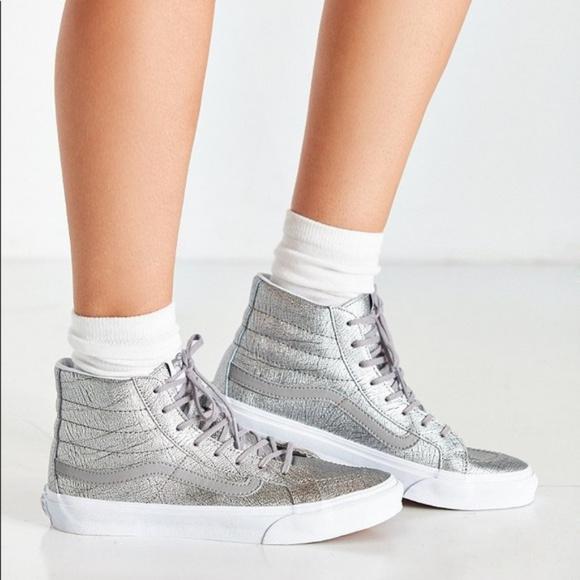010cae597f VANS Sk8-Hi Slim Foil Metallic Silver Sneaker. M 5bbaa098409c1542977479bd